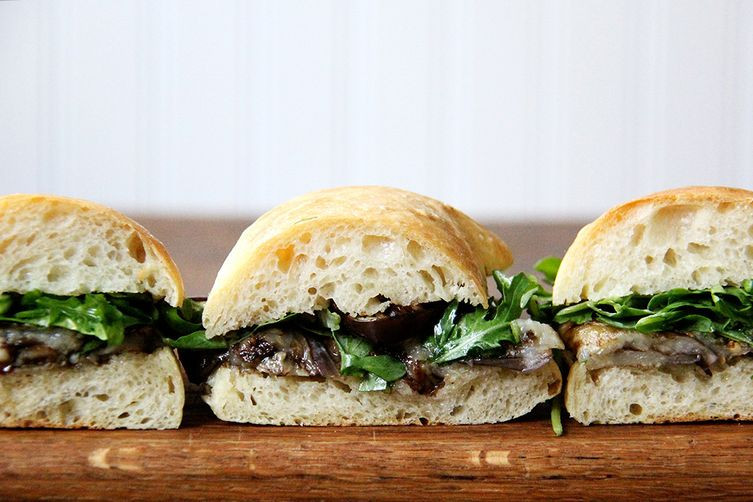 Balsamic Roasted Eggplant Sandwiches with Arugula