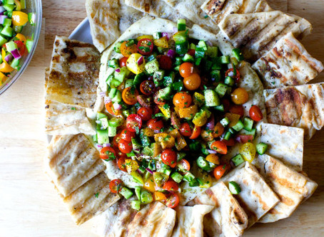 Fancy Hummus with Cucumber & Tomatoes