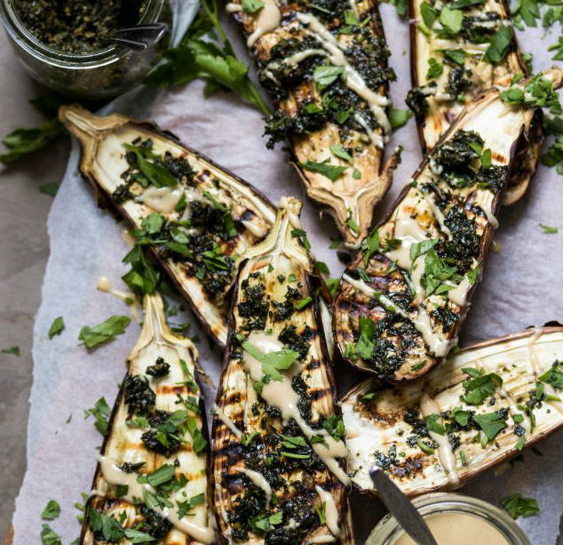 Charred Eggplant - Yes Please! Extra delicious with carrot top pesto.