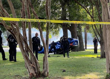 Man riding lawn mower killed after car involved in accident veers off the road.