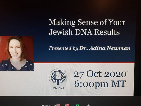 Recording of UGA DNA Webinar on Jewish DNA Results
