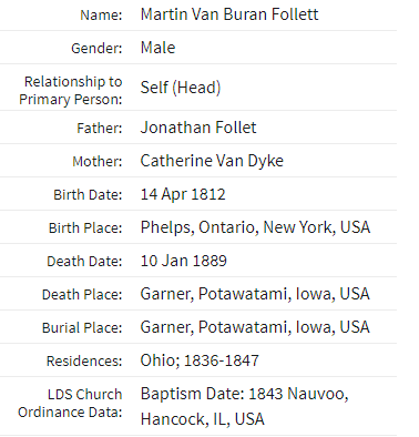 Martin Van Buran Follett LDS membership