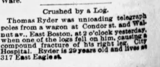 Crushed by log Boston Globe