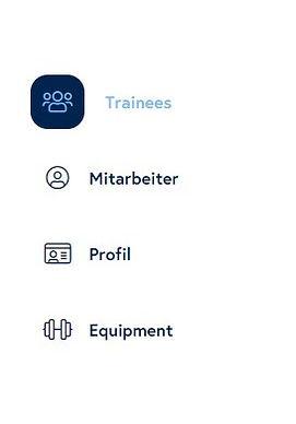 COCKPIT Seitenleiste mit Trainees, Mitarbeiter, Profil, Equipment