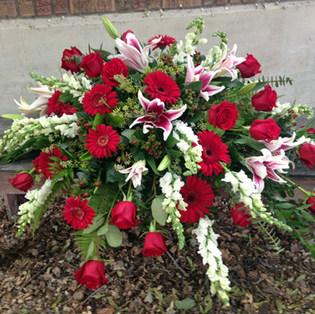 Lush Red & White Casket Piece