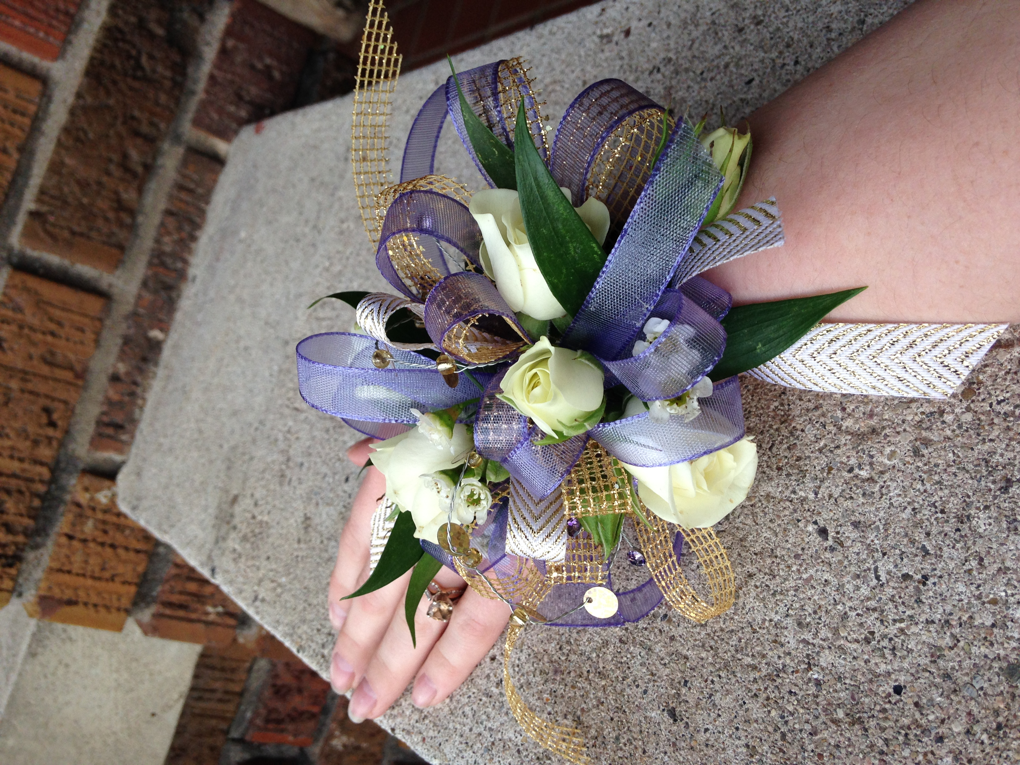 Mixed accent prom corsage