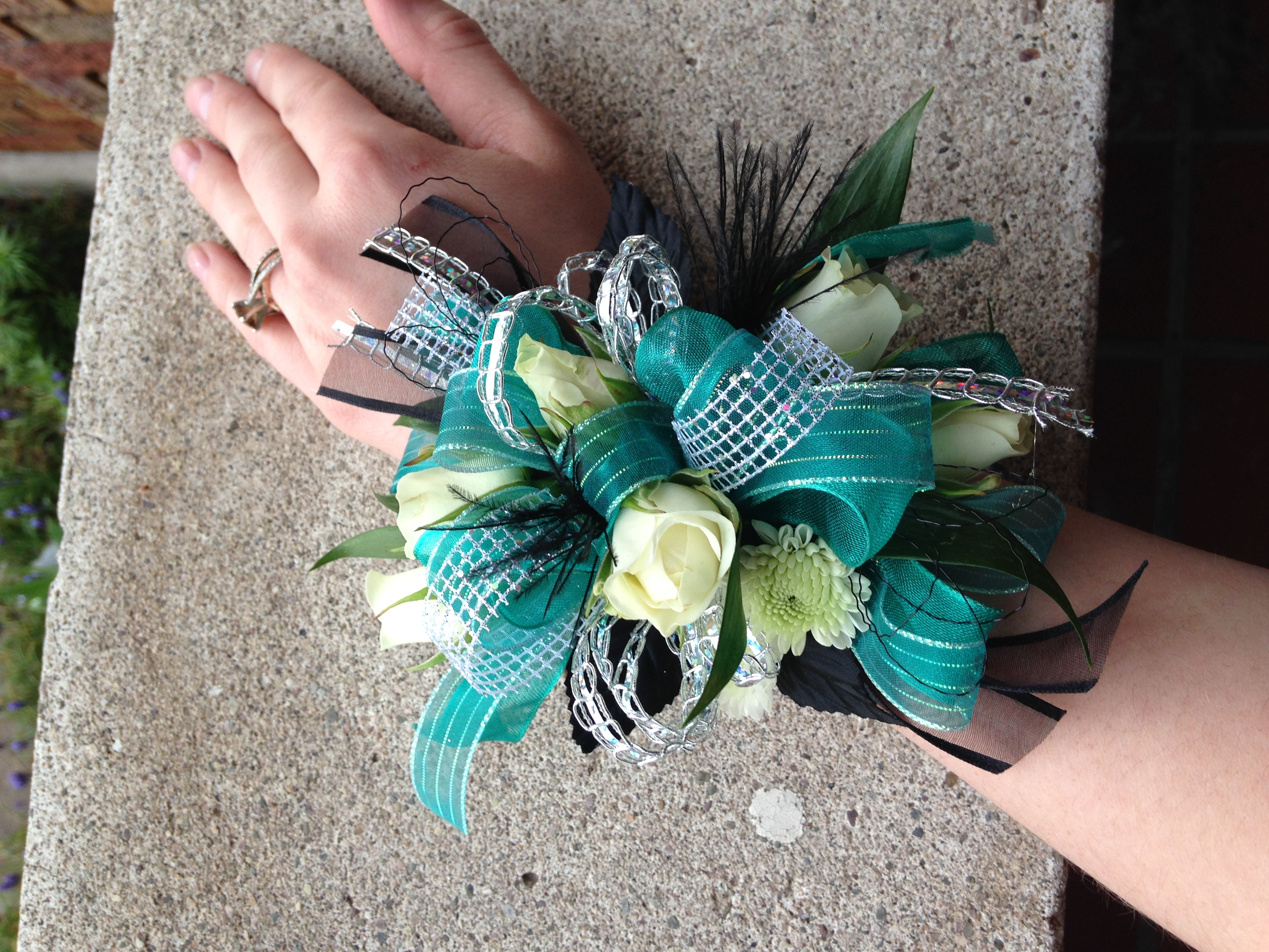 Prom Corsage with feather accents