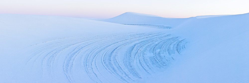 Panoramic landscape photograph taken at New Mexico's White Sands National Park.