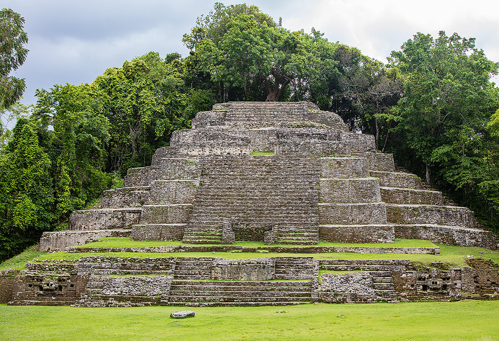 The Mayan Jaguar Temple located deep in the jungle of Belize.