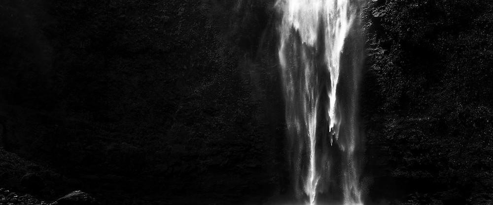 Black and white photograph of Hanakapiai Falls in Kauai