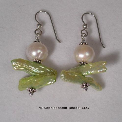Biwa and Freshwater Pearl Earrings