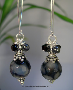 Sophisticated Beads - Black Heat Cracked Agates on Handmade Sterling Silver Wires from Tha