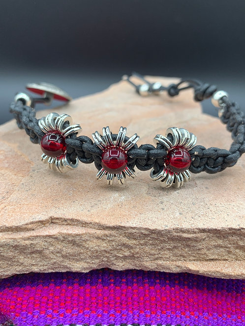 Red Sun Knotted Leather Bracelet with Glass Focal Beads & Tibetan Spacers