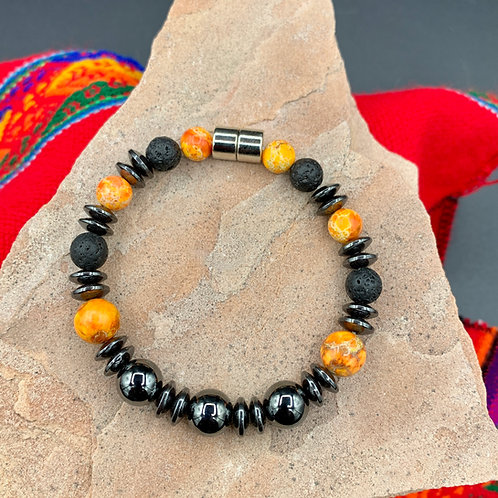Orange Crush Aromatherapy Bracelet: Jasper, Lava, Onyx, Hematite