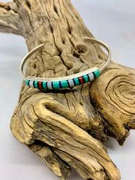 Zuni Sterling Silver Bracelet with Inlaid Stones - $70
