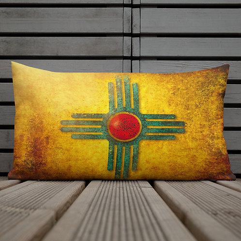 New Mexico Zia Sunburst -Premium Pillow 12x20 Inches