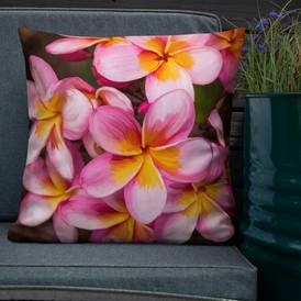 Cascading Plumeria-Hawaii Throw Pillow