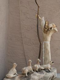 Pete Ortega's woodcarving of Christ the Good Shepherd