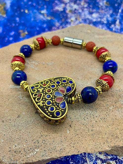 Tibetan Love: Red Coral & Lapiz Lazuli Aromatherapy Bracelet