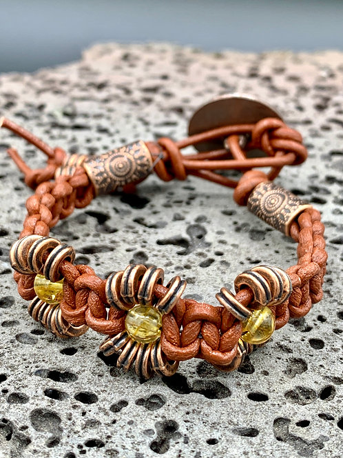 Yellow Sun Knotted Leather Bracelet with Yellow Citrine & Copper Colored Spirals