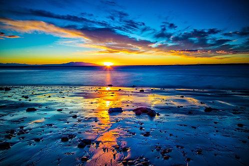 Sleeping Lady Sunset, Anchorage, Alaska | Vivid Metal Print