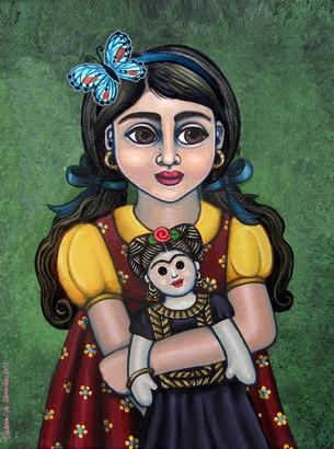 Frida Kahlo-Holding Frida with Butterfly