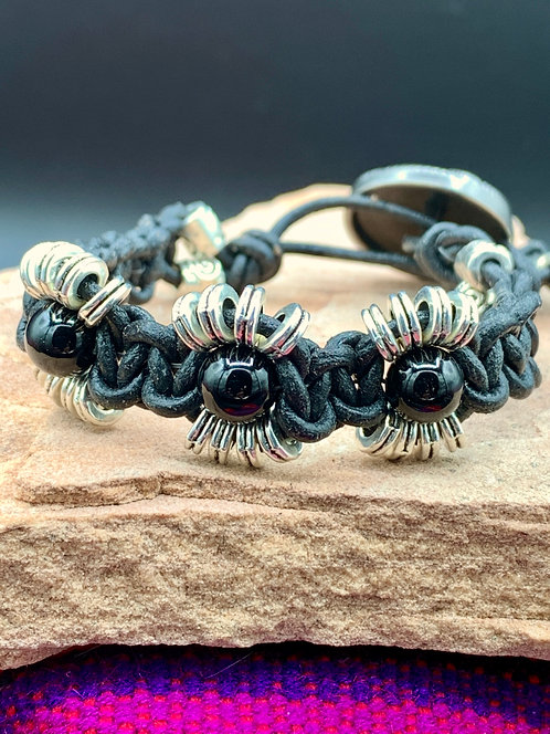 Black Sun Knotted Leather Bracelet with Black Obsidian & Tibetan Spacers