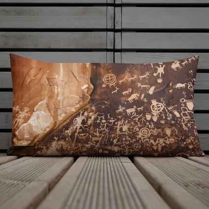 Newspaper Rock Utah Throw Pillow
