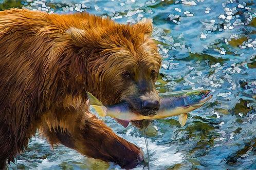 Alaska Brown Bear | Breakfast at Brooks Falls | Vivid Metal Print