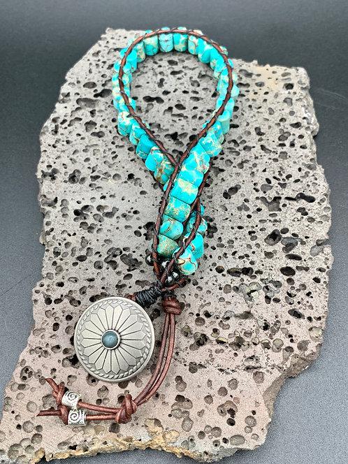 Blue Moon Double Wrap Leather Bracelet