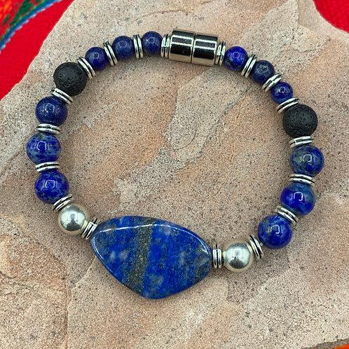 Stone of Mastery: Lapiz Lazuli & Silver Aromatherapy Bracelet