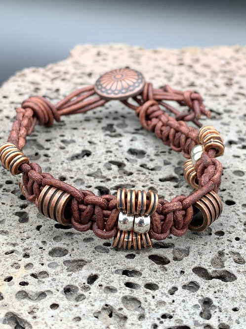 Western Sun Knotted Leather Bracelet with Metal Beads