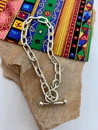 """8"""" Cochiti Pueblo Sterling Silver Chain Bracelet by Lambert Eustace - $85"""