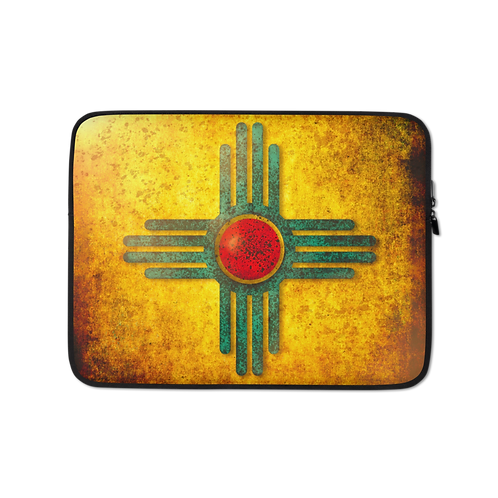 New Mexico Turquoise Sunburst Zia Laptop Sleeve