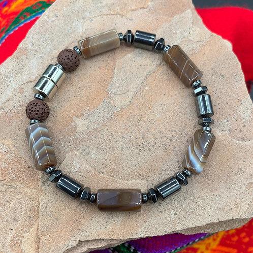 Desert Sands Aromatherapy Bracelet:  Marbled Agate, Hematite, Lava