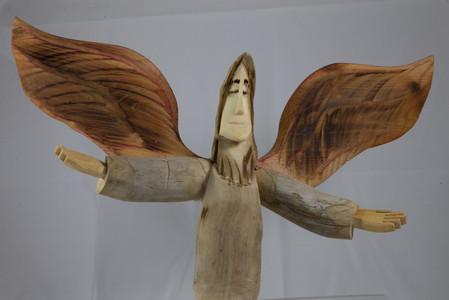Pete Ortega angel woodcarving.