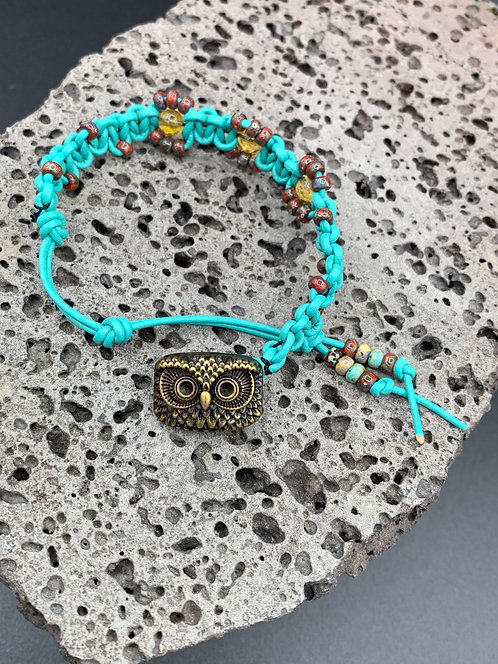 Sun Owl Knotted Leather Bracelet with Yellow Citrine & Miyuki Seed Beads