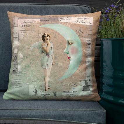 Bonsoir Lune-French Ephemera Throw Pillow