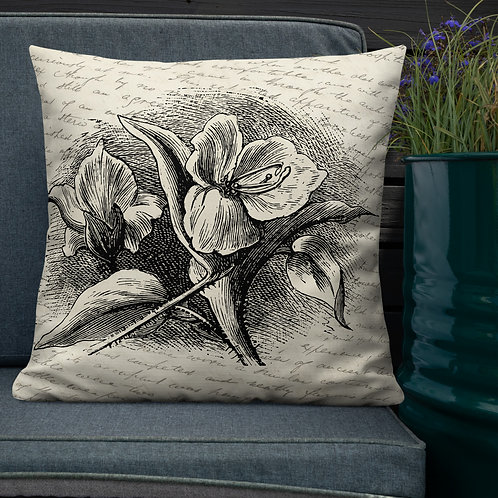 Commelina-Botanical Flower Throw Pillow by Robert Arrington