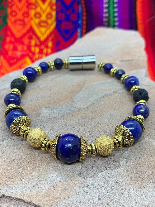 Peace & Harmony: Lapiz Lazuli & Gold Aromatherapy Bracelet