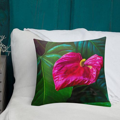 Jungle Anthurium-Hawaii Throw Pillow