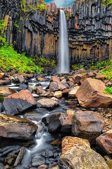 Svartifoss Waterfall  | Vivid Metal Print | From $99