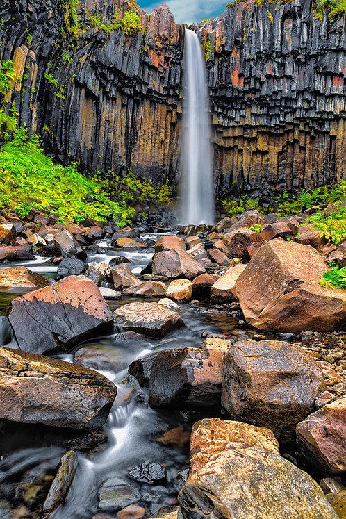 Svartifoss Waterfall    Vivid Metal Print   From $99