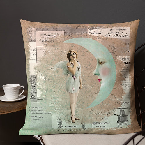 Bonsoir Lune-French Ephemera Throw Pillow by Robert Arrington