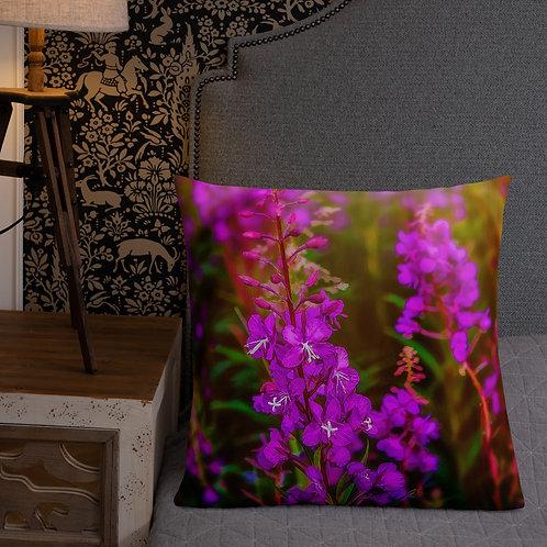 Morning with Fireweed Alaska Throw Pillow by Robert Arrington
