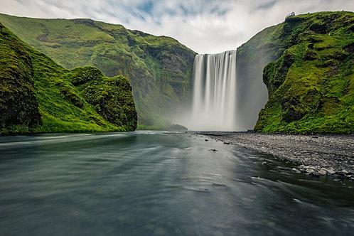 Skogarfoss Waterfall    Vivid Metal Print