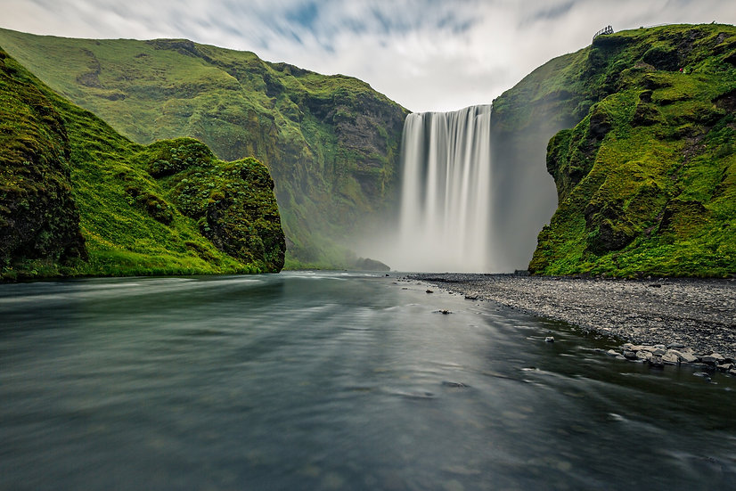 Skogarfoss Waterfall  | Vivid Metal Print | From $99