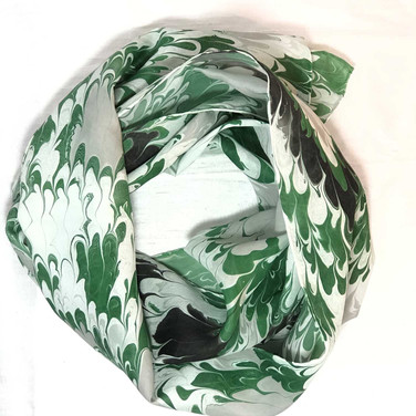 Green, Gray, Black Water Marbled Scarf