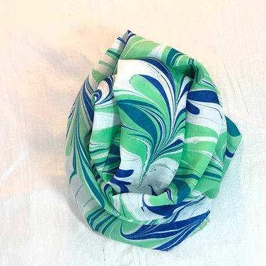 Blue, Bright Green Water Marbled Scarf
