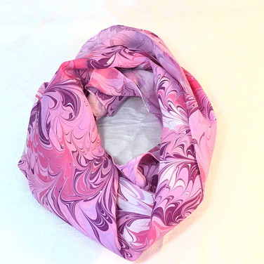 Pink, Lavender, White Water Marbled Scarf
